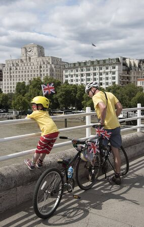 Action during the Prudential RideLondon Freecycle event in London UK at the weekend. Cyclists seen here crossing Waterloo Bridge.