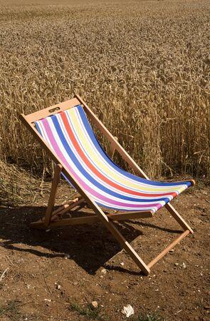 deckchair: Open deckchair in countryside