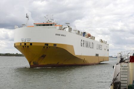 benelux: Grand Benelux a vehicle carrier ship of Grimaldi Lines underway Southamton Water UK