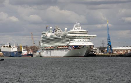 alongside: Azura a P&O cruise ship alongside Southampton Docks UK Editorial