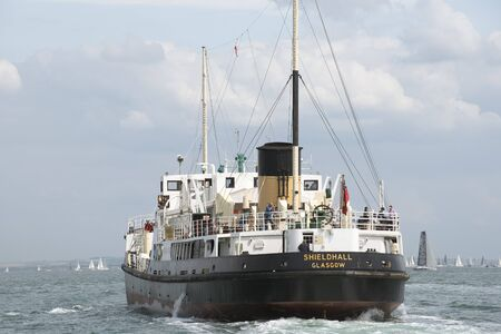ss: SS Shieldhall a historic steamship underway on The Solent southern England UK
