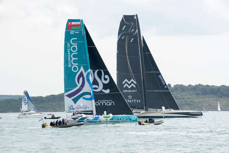 oma: Yachts Sultanate of Oman 07 OMA and Genes X Mirabaud 1819 Zenith at the start of the Rolex Fastnet Race at Cowes Isle of Wight England UK today. Picture Peter TitmussAlamy Sunday 16 August 2015