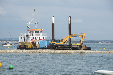 constructing: Constructing a new sheltered harbour at Cowes Isle of Wight UK