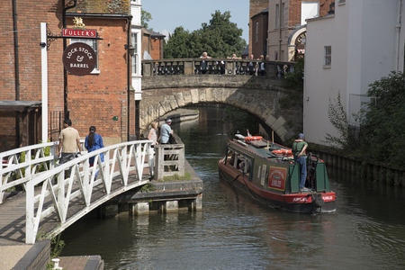 Kennet and Avon Canal at Newbury Berkshire UK Tourboat underway