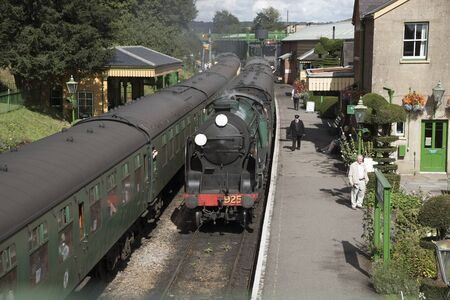 loco: The Watercress Line at Ropley Station Hampshire England UK The Cheltenham loco approaching the platform Stock Photo