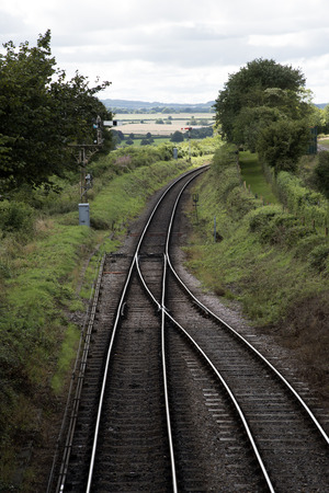 railway points: The Watercress Line at Ropley Hampshire England UK Stock Photo