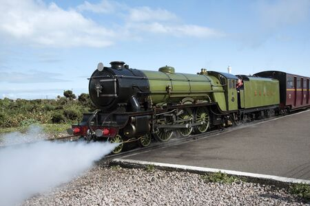 loco: The Green Goddess steam engine at Dungeness Station Kent UK