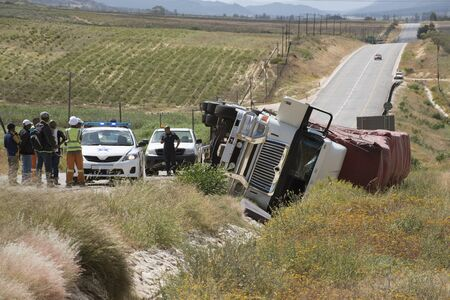 rta: Overturned lorry on the Cape Namibia route at Citrusdal north of Cape Town South Africa Editorial