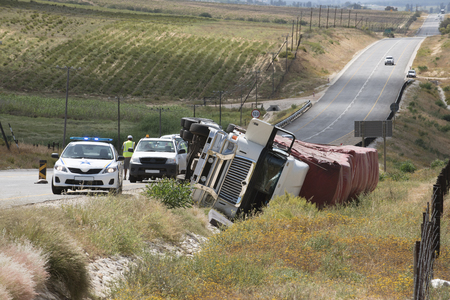Overturned lorry on the Cape Namibia route at Citrusdal north of Cape Town South Africa 写真素材
