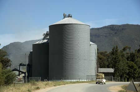 grain storage: Grain silos used for storage at Riebeek West in the Swartland region of South Africa