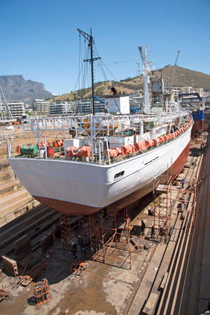 fishing industries: Fishing vessel in dry dock Cape Town South Africa Editorial