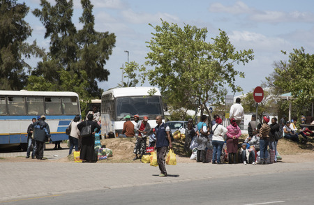 mingle: Bus station and passengers in the rural town Picketberg in Swartland region South Africa
