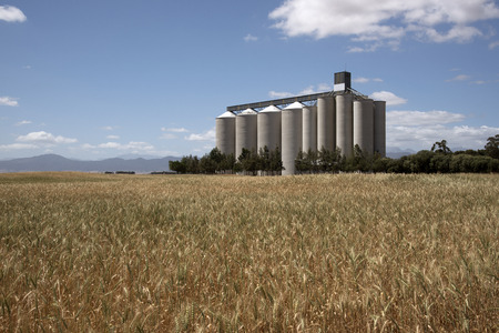 Grain silos and storage at Pools in the Swartland region South Africa Stock Photo - 48128335