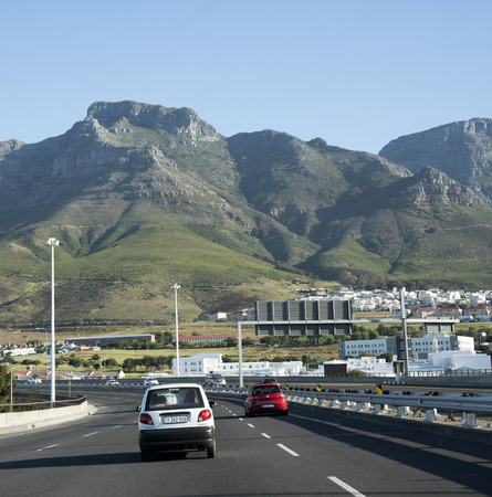 Driving on the N2 Highway out of Cape Town city South Africa
