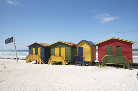 seaside town: Colourful beach huts at Muizenberg seaside resort near Cape Town South Africa Stock Photo