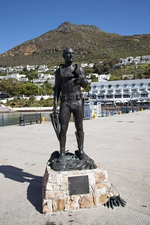 honour: Standby Diver statue in honour of South African Navy divers at Simons Town South Africa