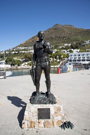 standby: Standby Diver statue in honour of South African Navy divers at Simons Town South Africa