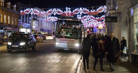 town centre: Christmas lights in Stratford upon Avon town centre Editorial