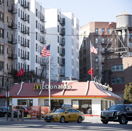 drive through: Drive through fastfood outlet at 125th Street Station Manhattan NYC Editorial
