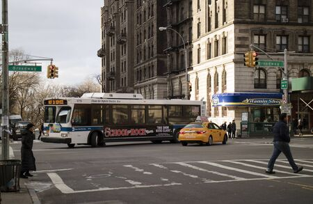 Clean Air Hybrid Electric bus on Broadway New York