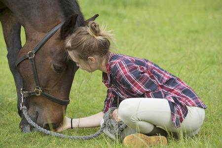 pony girl: Teenage girl with her pet pony Stock Photo