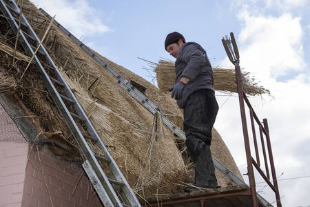 property ladder: Thatcher with combed wheat reed on the roof of a house Stock Photo