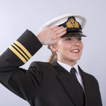 Portrait of a young female naval officer