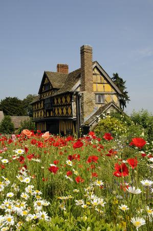 gatehouse: Stokesay Castle gatehouse wild flowers growing in the courtyard  Shropshire England UK