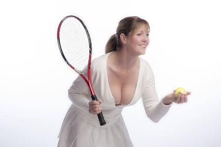 Woman tennis player wearing a low cut top