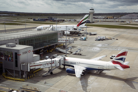 LONDON GATWICK AIRPORT OVERVIEW OF PASSENGER JETS ON THE APRON
