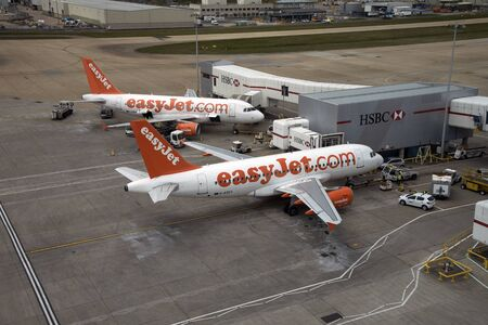 jets: LONDON GATWICK AIRPORT PASSENGER JETS ON THE STAND Editorial