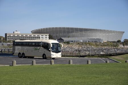 sports venue: Coach transport and  the sports stadium in Cape Town South Africa Editorial