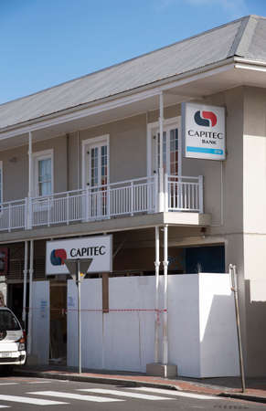 premises: Capitec Bank is a commercial bank in the Republic of South Africa. The premises here are under construction in Hermanus Western Cape