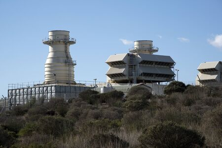 gas turbine: ANKERLIG POWER STATION AT ATLANTIS NORTH OF CAPE TOWN SOUTH AFRICA - APRIL 2016 - One of five gas turbine plants in Southern Africa powered by natural gas