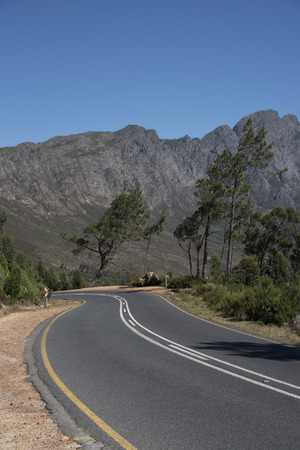scenic drive: FRANSCHHOEK PASS WESTERN CAPE SOUTH AFRICA - APRIL 2016 - The scenic drive through the the Francshhoek Mountain pass Stock Photo
