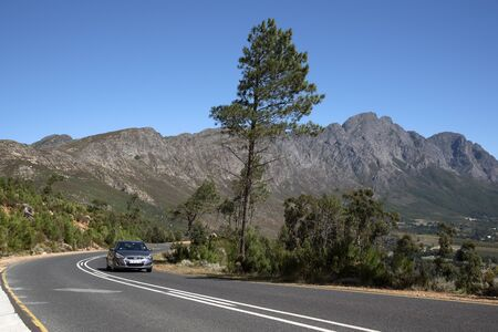 scenic drive: FRANSCHHOEK PASS WESTERN CAPE SOUTH AFRICA - APRIL 2016 - The scenic drive through the the Francshhoek Mountain pass Editorial