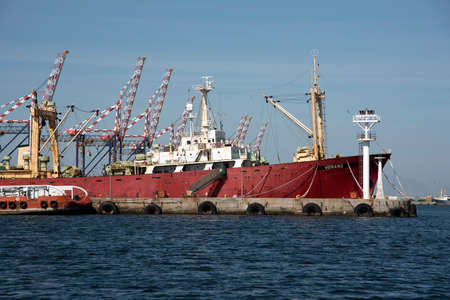 trawler: PORT OF CAPE TOWN SOUTH AFRICA - APRIL 2016 - The Verano a Russian registered trawler alongside