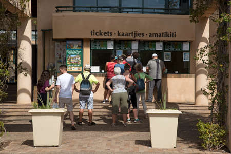 inline: KIRSTENBOSCH WESTERN CAPE SOUTH AFRICA - APRIL 2016 - Visitors to the Kistenbosch Botalical Gardens in Cape Town in line for their tickets