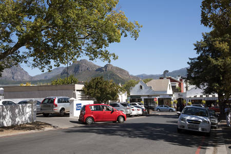 southern africa: FRANSCHHOEK WESTERN CAPE SOUTH AFRICA - APRIL 2016 - A general view of the main street in Franschhoeka small town in the Western Cape region of Southern Africa Editorial