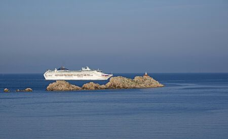oceana: CRUIS SHIP APPROACHING THE PORT OF DUBROVNIK CROATIA - MAY 2016 - The cruise ship Oceana underway and approaching the cruise ship port in Dubrovnik Croatia