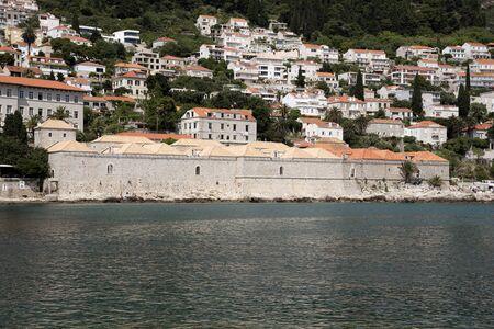 quarantine: THE LAZARETI DUBROVNIK CROATIA - MAY 2016 - An overview from the Adriatic Sea of the historic Maritime Lazareti a medieval quarantine building Editorial