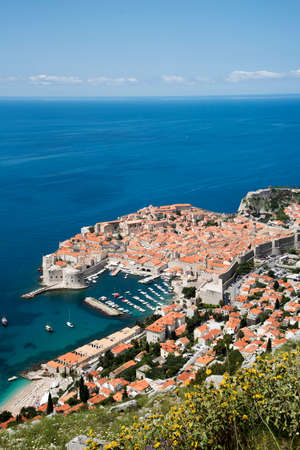 walled: OLD TOWN DUBROVNIK CROATIA - MAY 2016 - An overview from Mount Syd of the walled Old Town of Dubrovnik a World Heritage site