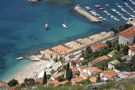 quarantine: THE LAZARETI DUBROVNIK CROATIA - MAY 2016 - An overview from Mount Syd of the historic Maritime Lazareti a medieval quarantine building
