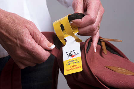 luggage tag: Airline luggage tag for cabin handbag or laptop space
