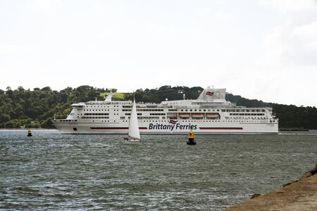 ferries: PLYMOUTH SOUND DEVON UK - JUNE 2016 - The roll on roll off Brittany Ferries Pont Avon outbound from Plymouth Devon England UK Editorial