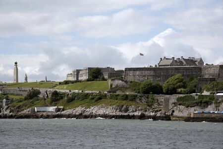 commando: THE ROYAL CITADEL ON PLYMOUTH HOE DEVON UK - JUNE 2016 - The Royal Citadel on Plymouth Hoe in Devon England seen across Plymouth Sound is home to the Commando Regiment of the Royal Artillery