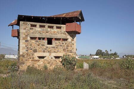 boer: BRITISH BLOCKHOUSE WELLINGTON WESTERN CAPE SOUTHERN AFRICA - APRIL 2016 - A British three tier blockhouse made of prefabricated stone with steel gunports has stood in the town of Wellington since the Anglo Boer War Editorial
