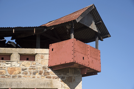 lockout: BRITISH BLOCKHOUSE WELLINGTON WESTERN CAPE SOUTHERN AFRICA - APRIL 2016 - A British three tier blockhouse made of prefabricated stone with steel gunports has stood in the town of Wellington since the Anglo Boer War Editorial