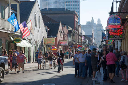 french quarter: NEW ORLEANS USA - Tourists in the French Quarter of this city of jazz Editorial