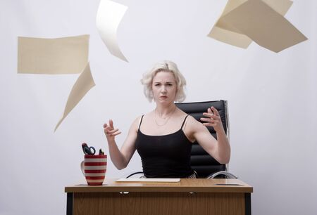 secretarial: ANGRY SECRETARY THROWING PAPERWORK IN THE AIR